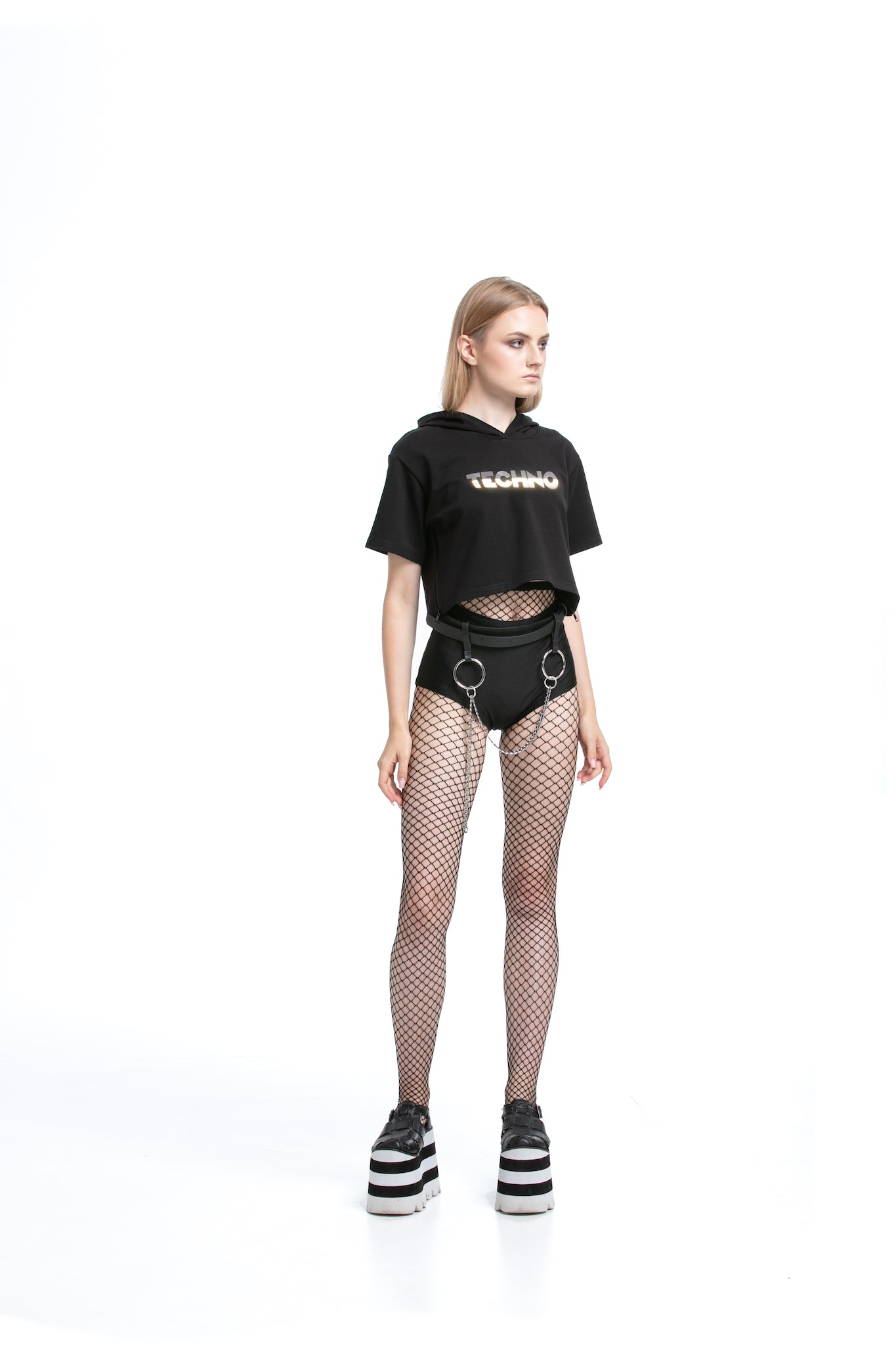 Reflective Techno - Cropped Tops with side zips
