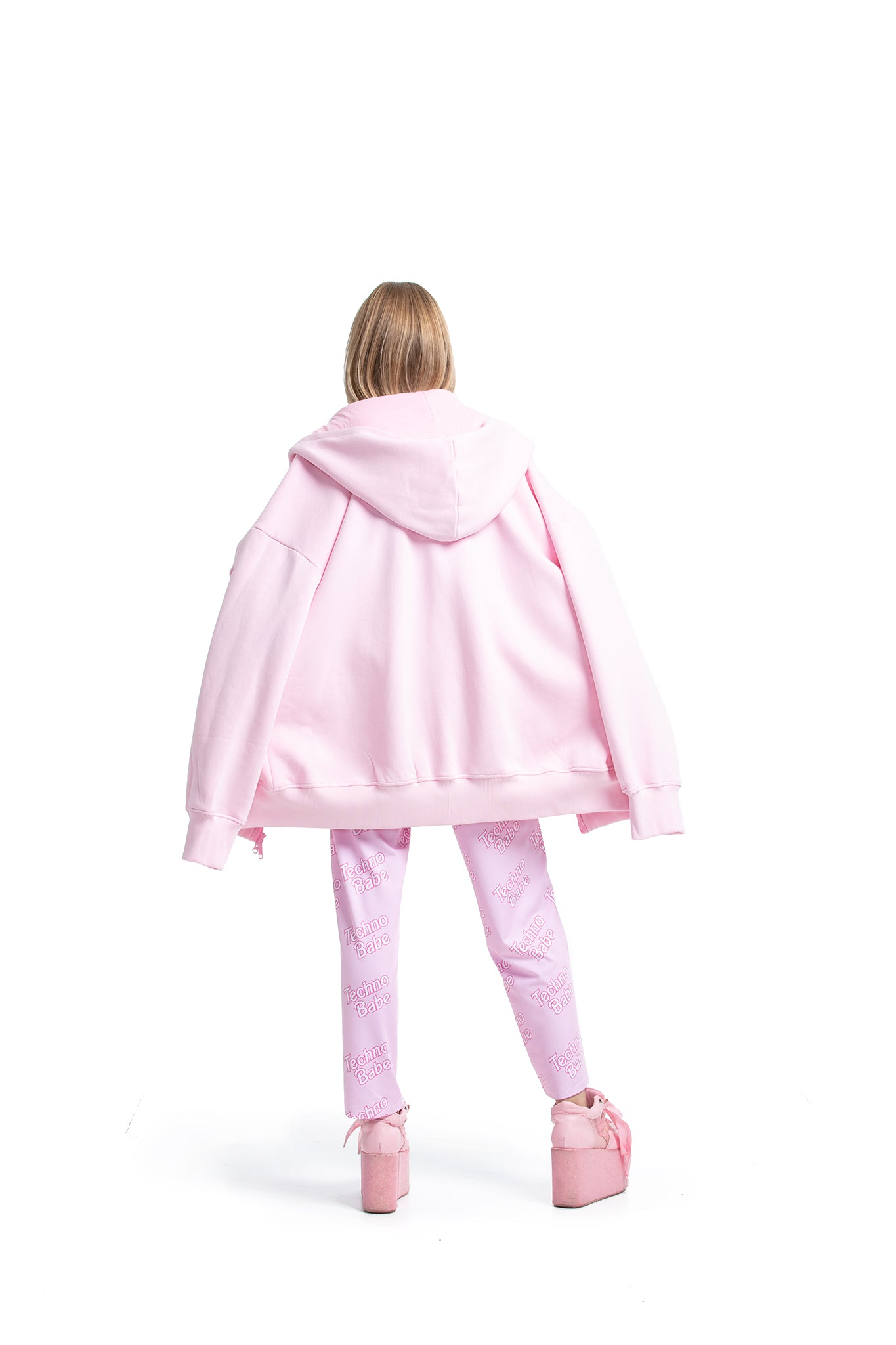 Super Oversized Zip-up Sweatshirt [Pink]