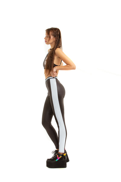 Leggings with reflective side-stripes
