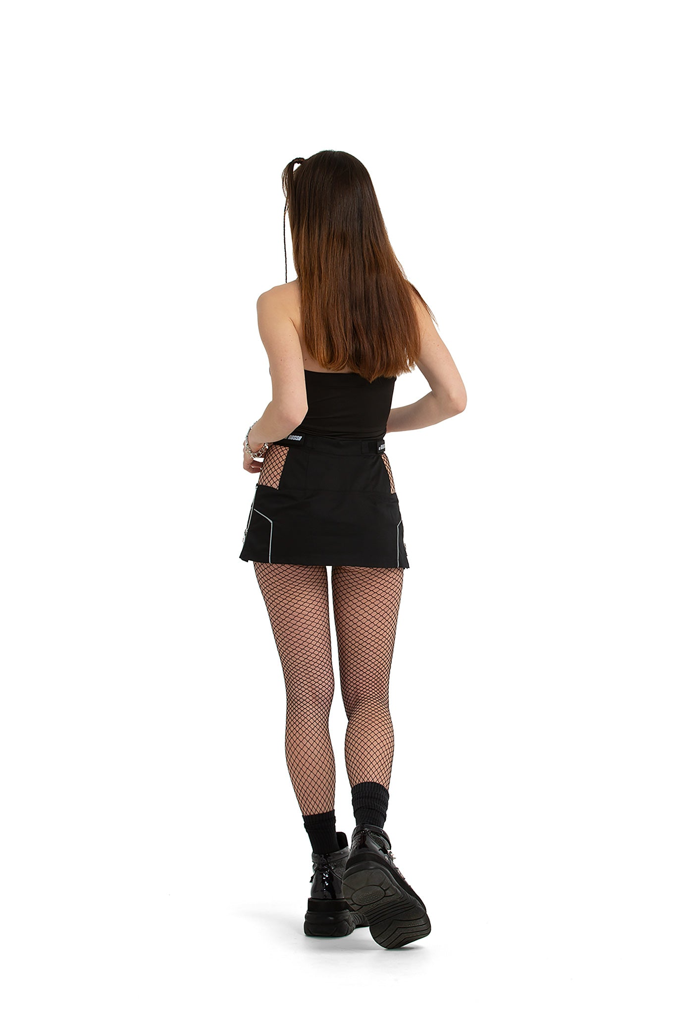 Skort with reflective details [black]