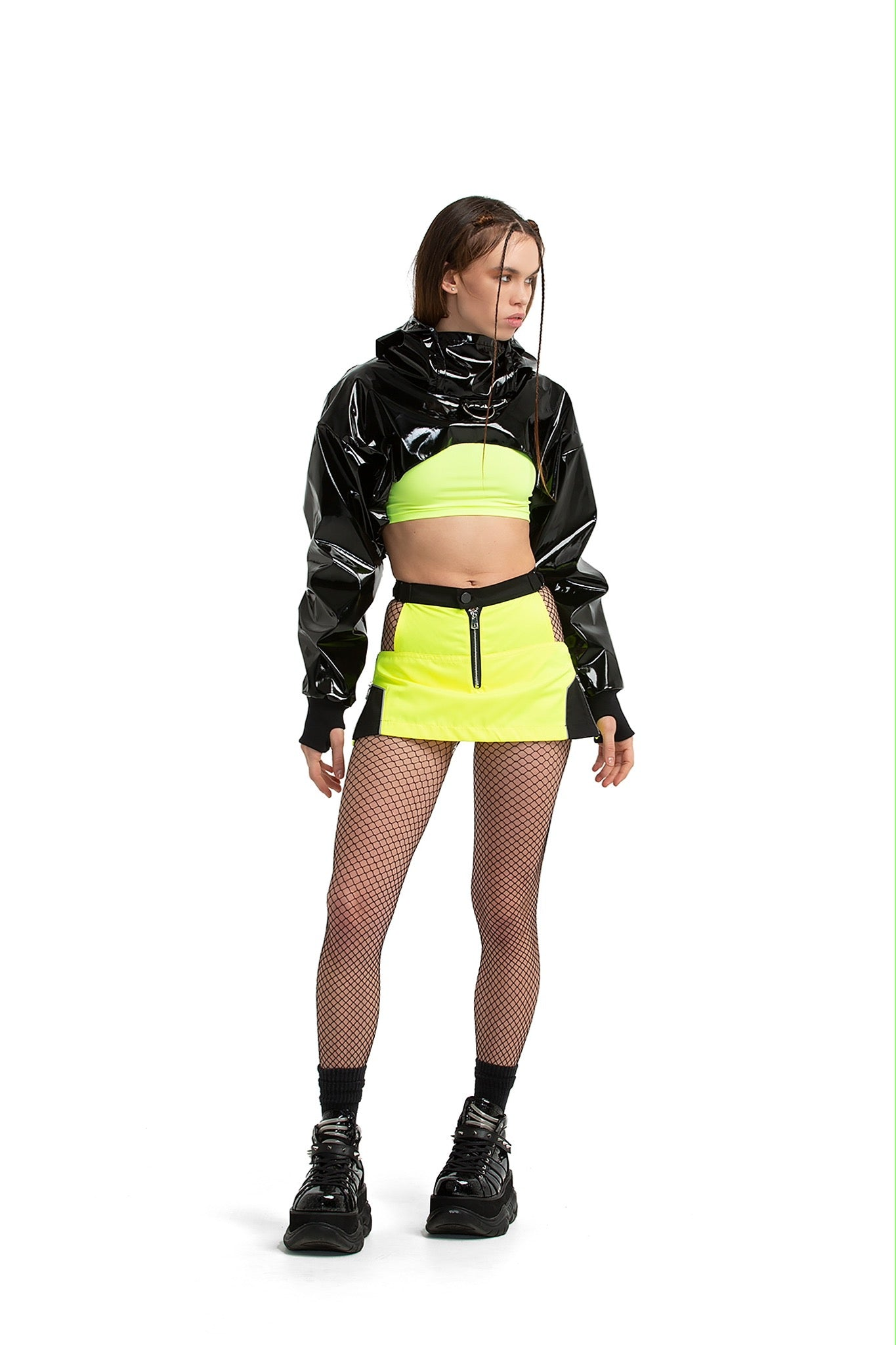 Skort with black details [neon yellow]