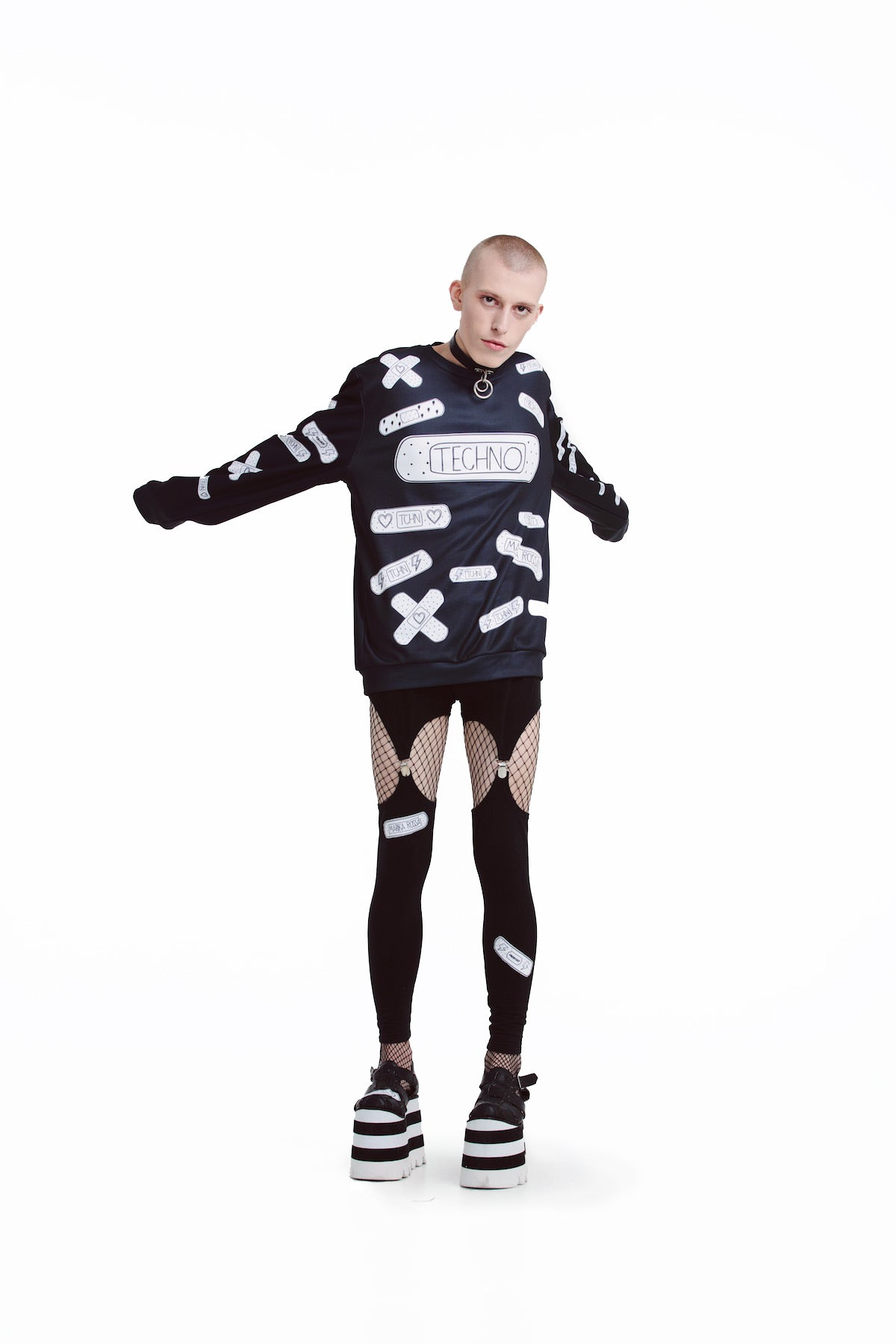 Techno Bandaids Sweatshirts [Black]