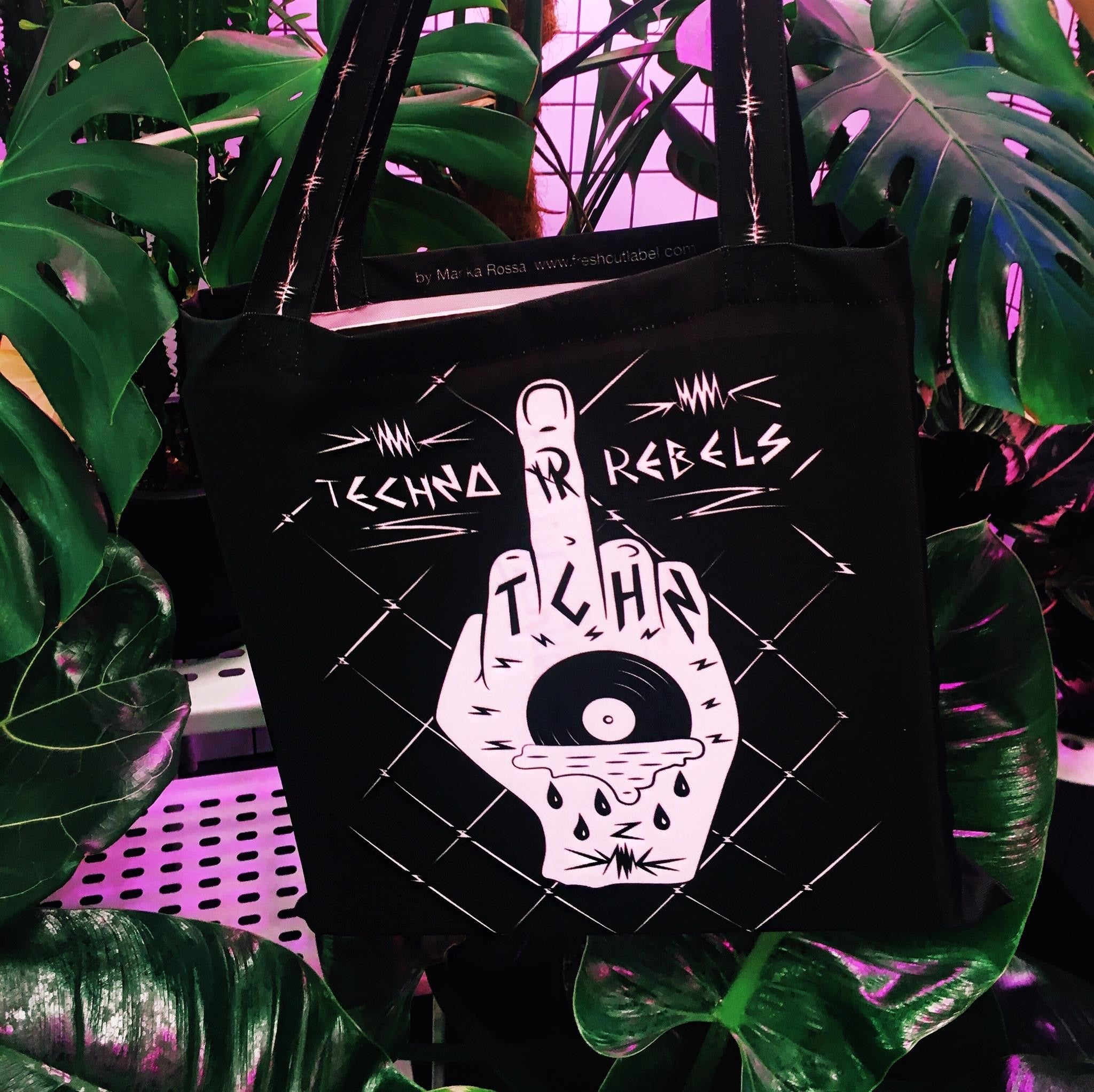 Techno Rebels Vinyl shopping bags