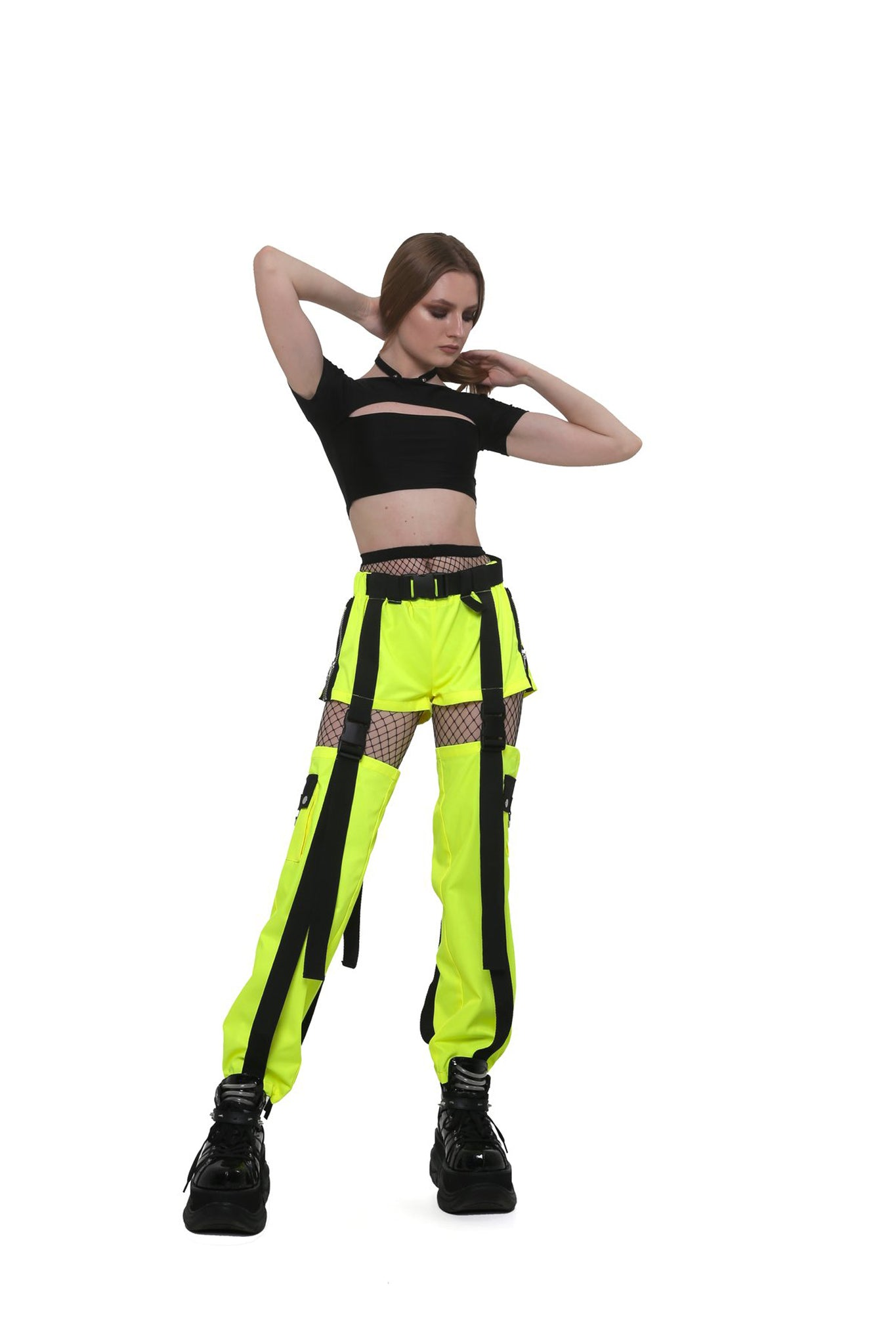 2-way cargo pants. [Neon Lemon]