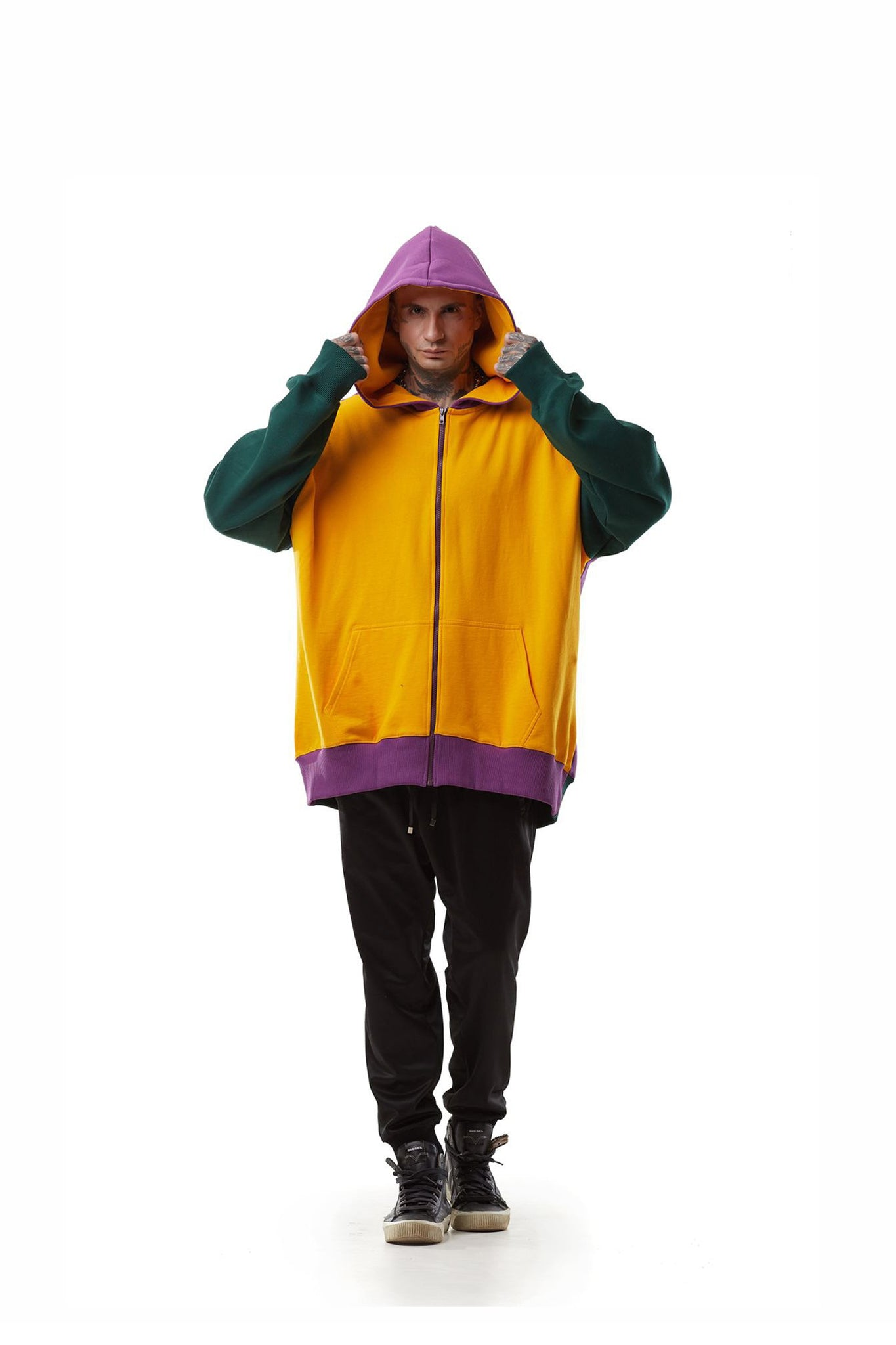 Multicolored Super Oversized Hoodie With Zipper