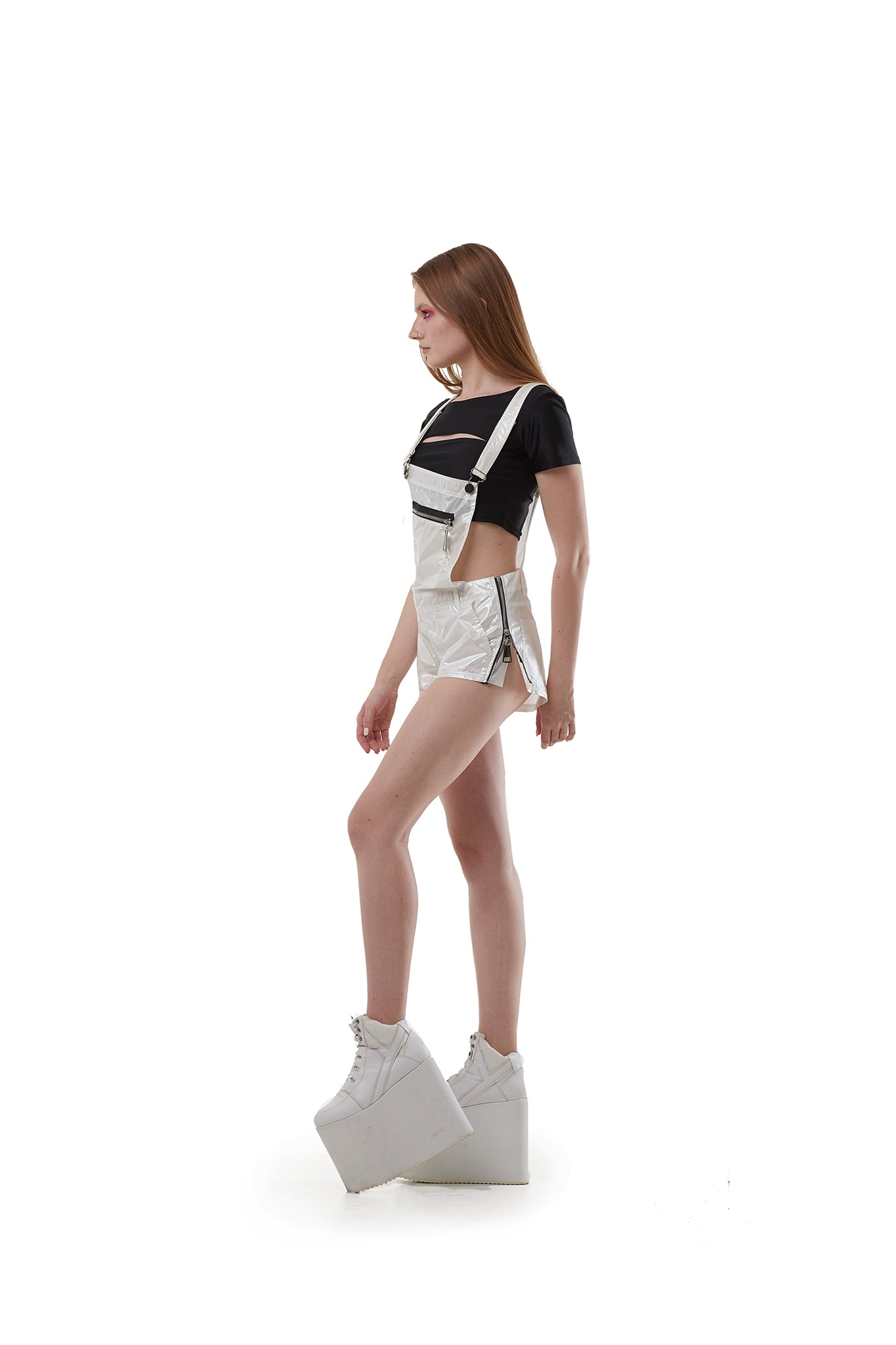 Overall shorts (White holographic melt)