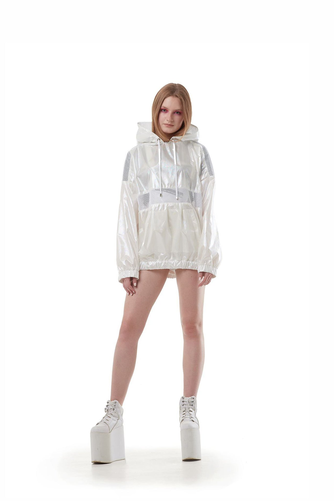 Light Anorak (White holographic melt)
