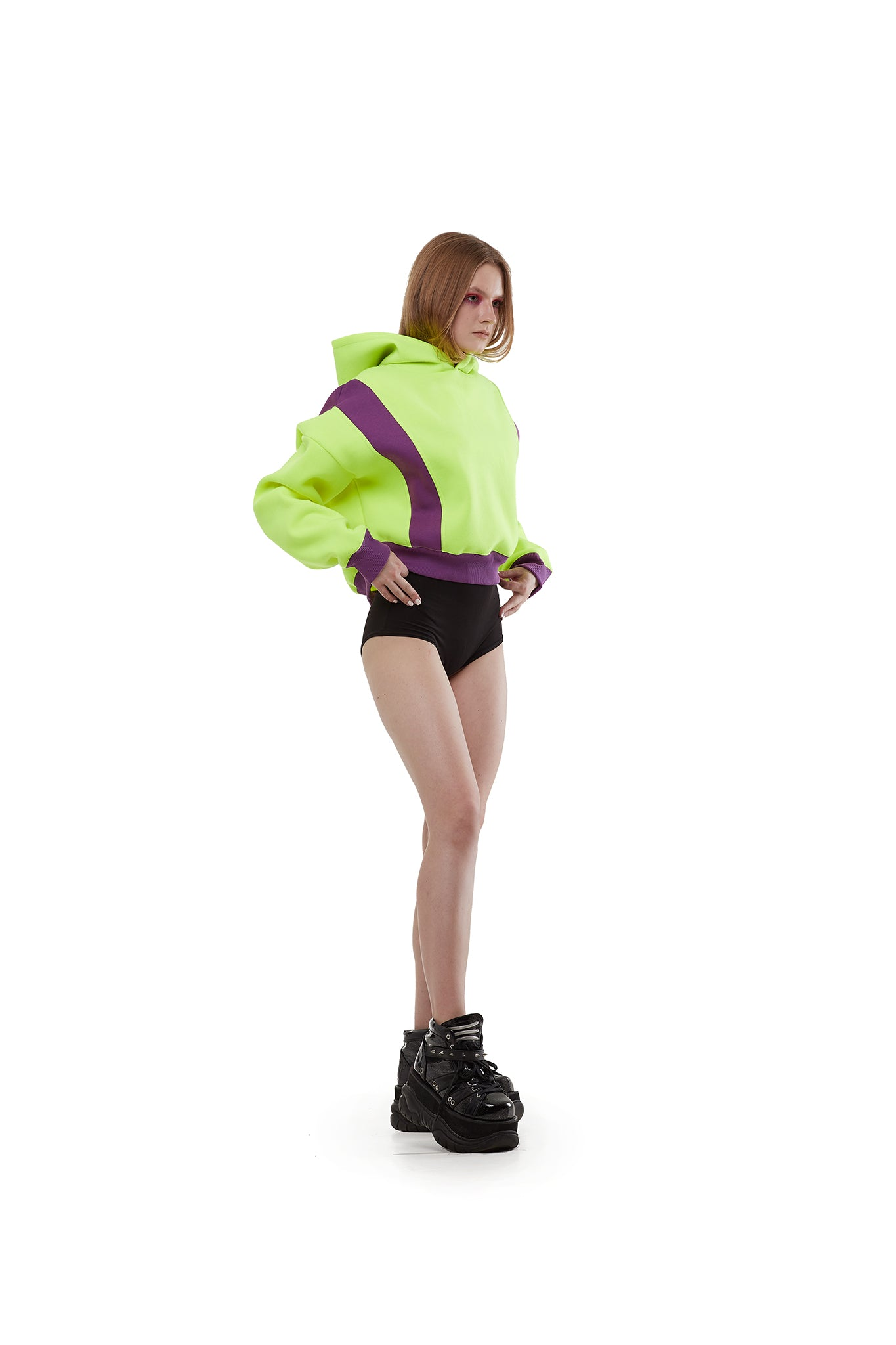 Cropped Hoodie [Neon Yellow/ Purple]