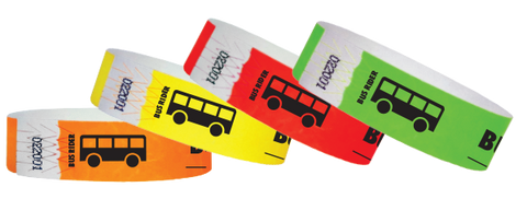Busrider wristbands available in a variety of colors.