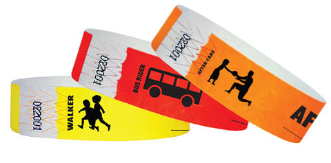Back to school wristbands in yellow, red and orange solid colors
