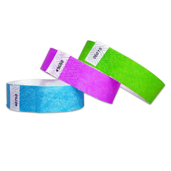 "3/4"" Standard Wristbands Solid Colors 200 Pack Printing included"