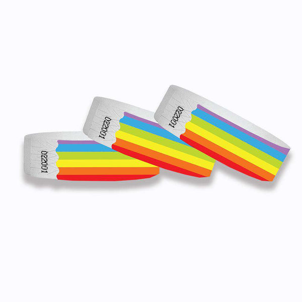 "3/4"" Tyvek Paper Wristband Rainbow - NO NUMBERS"