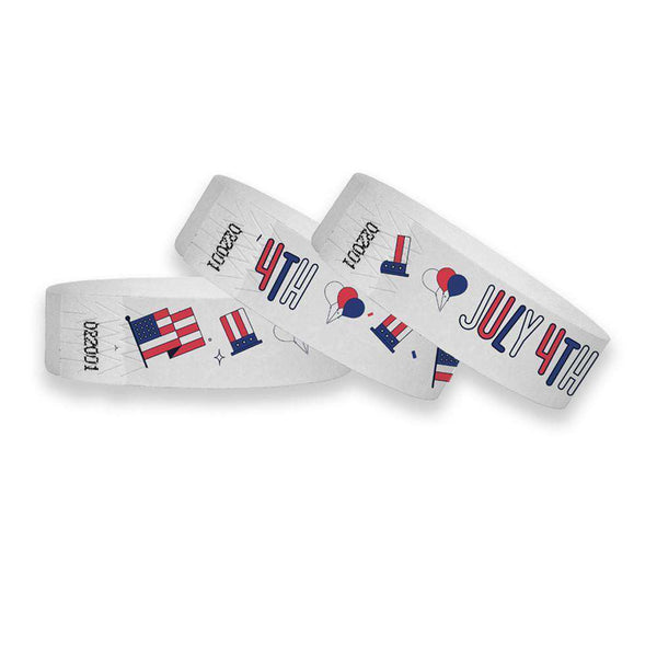 3/4 4th of July Wristbands Full Color Wristbands