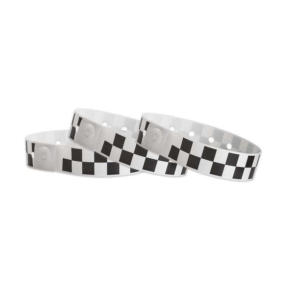 Black Checkerboard Plastic Wristbands Design
