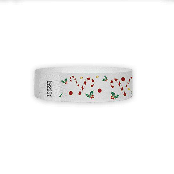 "3/4"" Candy Cane Tyvek Wristbands"