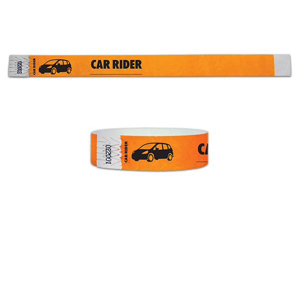 "3/4""  Tyvek Car Rider Wristbands"