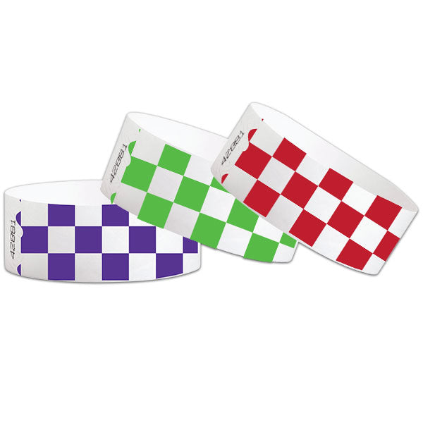"1"" Tyvek Paper Wristband Checkers"