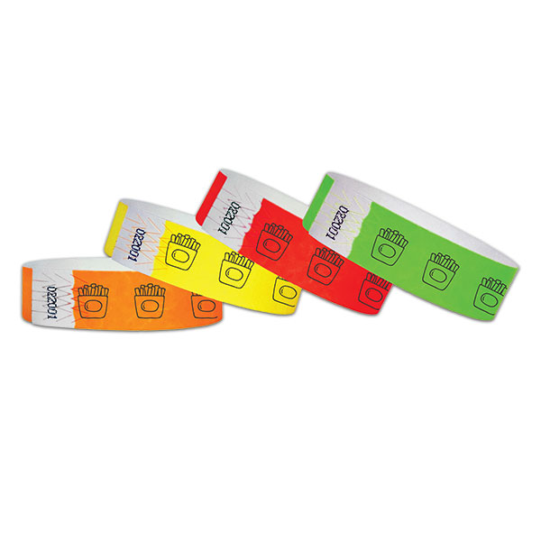 "3/4"" French Fries Tyvek Wristbands"