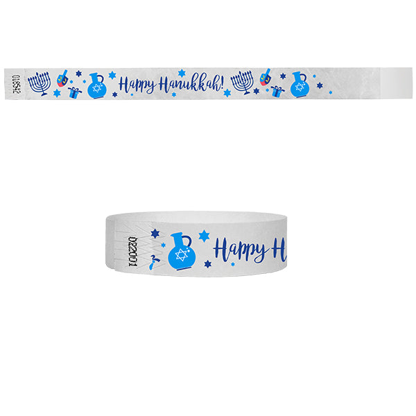 3/4  Happy Hannukah Multi-Color Wristbands