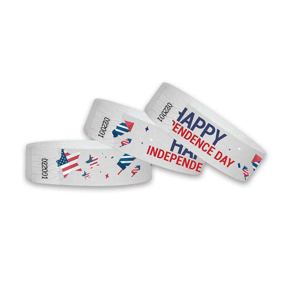 3/4 Happy Independence Day Wristbands