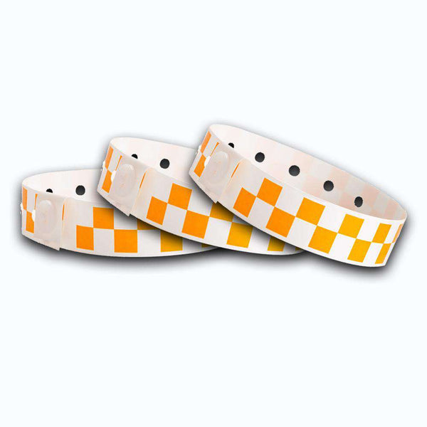 Orange Checkerboard Plastic Wristbands Design