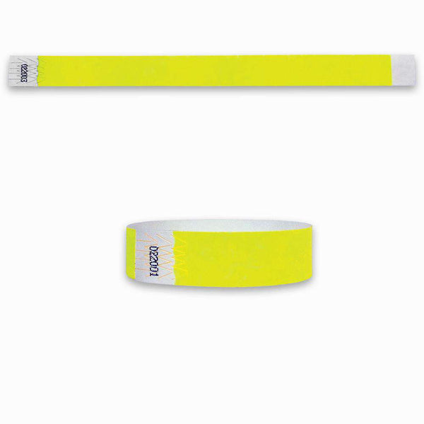3/4 Summer Yellow Tyvek  Wristbands