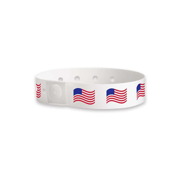 Wavy American Flag Plastic Wristbands