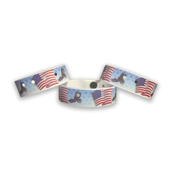 American Flag and Eagle Plastic Wristbands