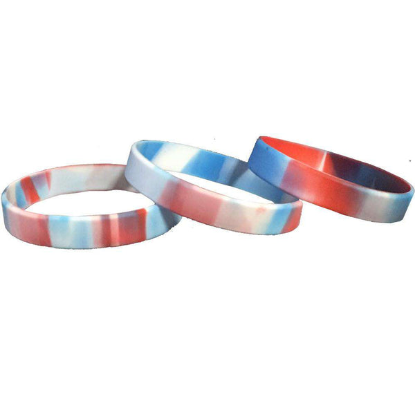 Red White and Blue Silicone Wristbands