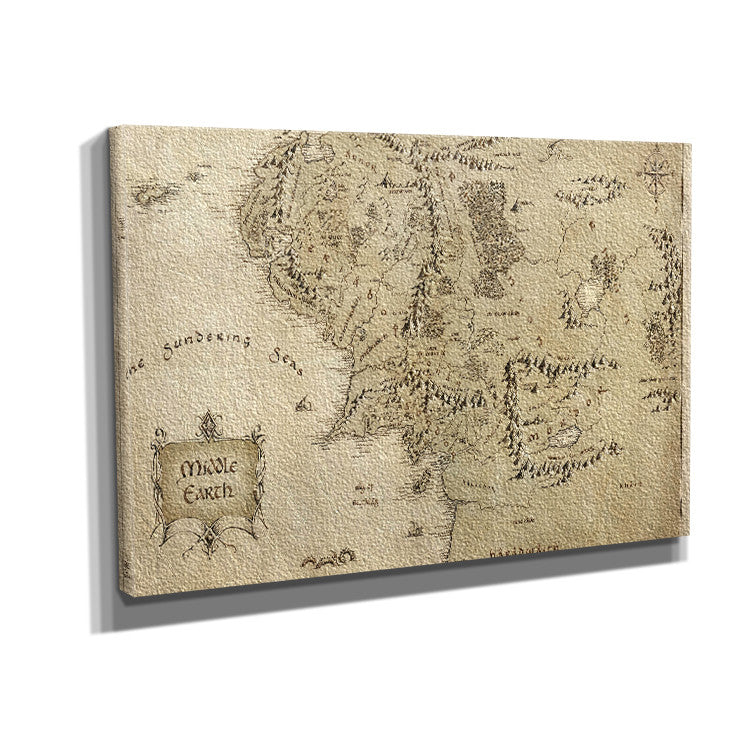 Lord of The Rings Middle Earth Map 02 Framed Canvas Art Print