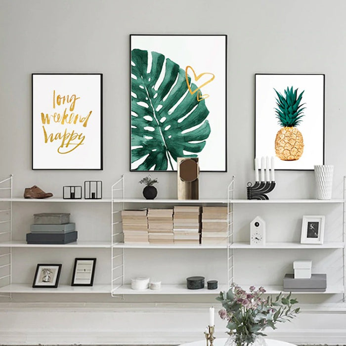 ART ZONE Golden Pineapple Modern Art Canvasses