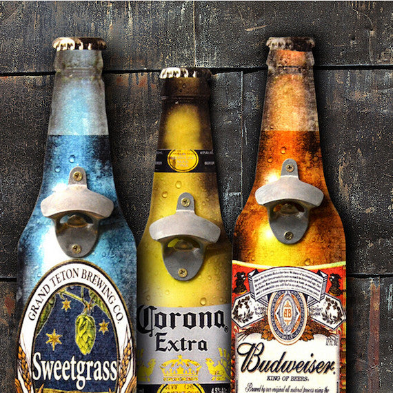 Beer Shaped Wall Mounted Bottle Opener
