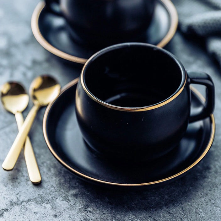 Black Pigmented Ceramic Tea Cup Set & Spoon
