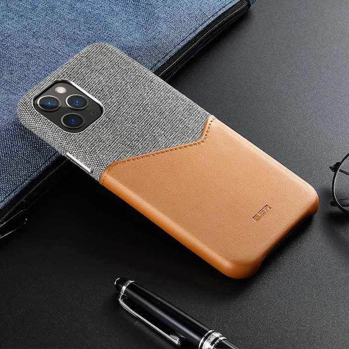 Cloth & Leather Slim iPhone 11 Pro Wallet Case