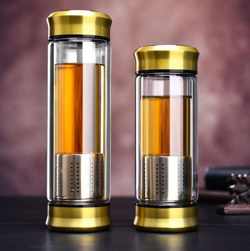 Double-Wall Glass Loose Leaf Tea Infuser Bottle