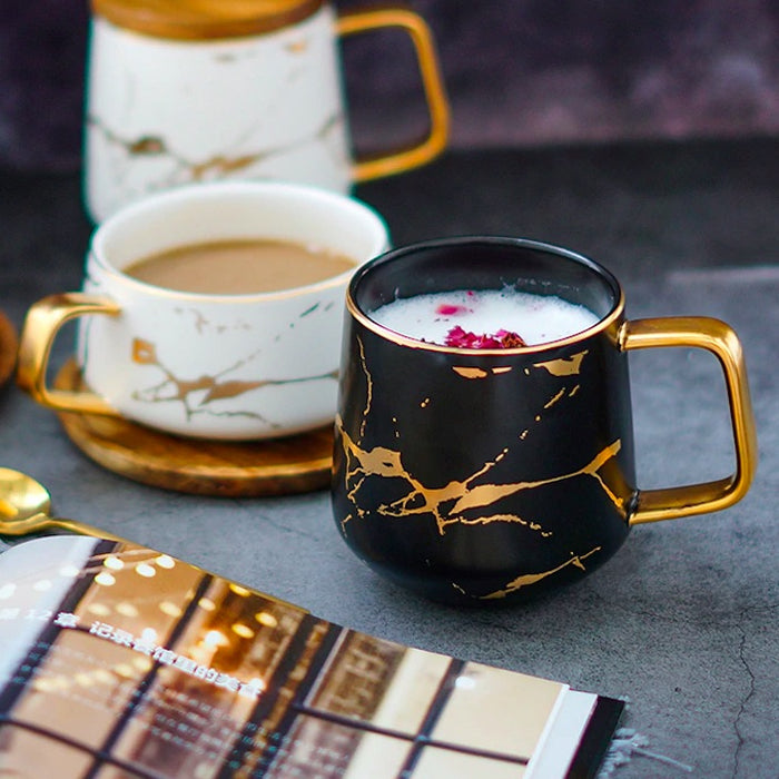 Entertime Matte Gold Marble Tea Mug