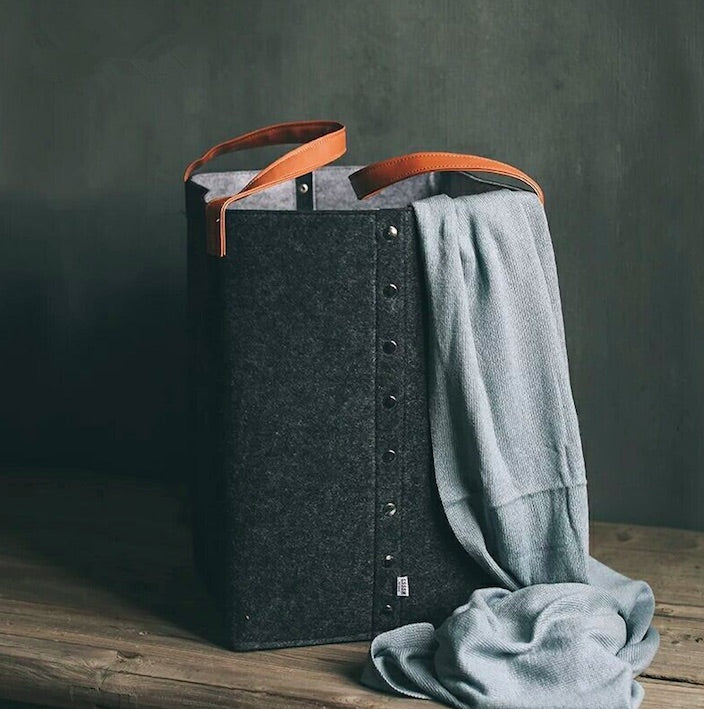 Felt Bucket-Style Laundry Basket