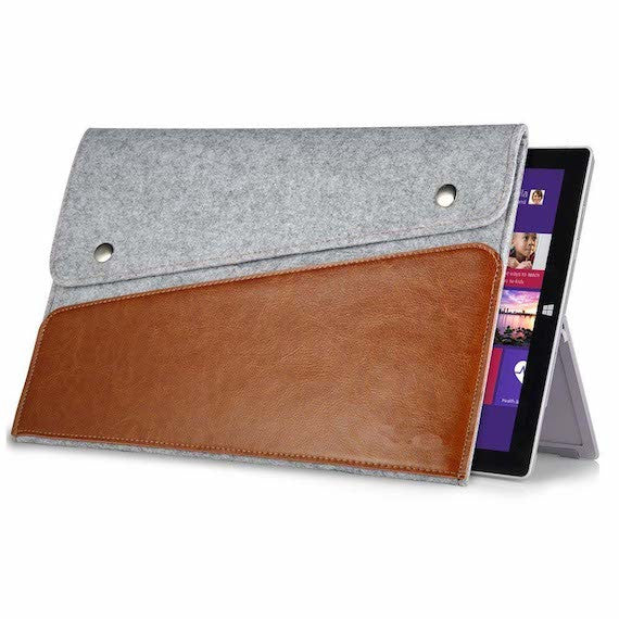 Genuine Leather Felt Case for Surface Pro Tablets
