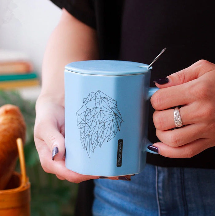 Geometric Animal All-in-One Ceramic Mug