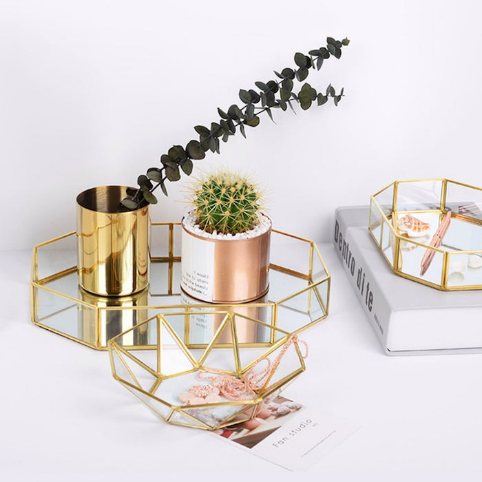 Geometric Copper & Glass Valet Tray