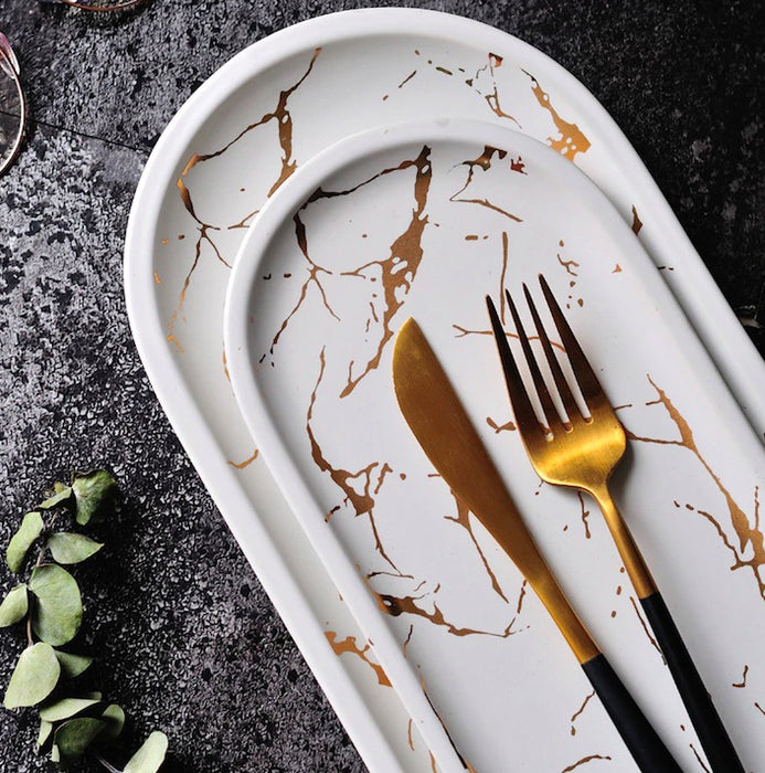 Gold Marble Ceramic Serving Tray