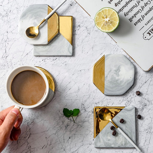 Gold Dipped Geometric Drink Coasters