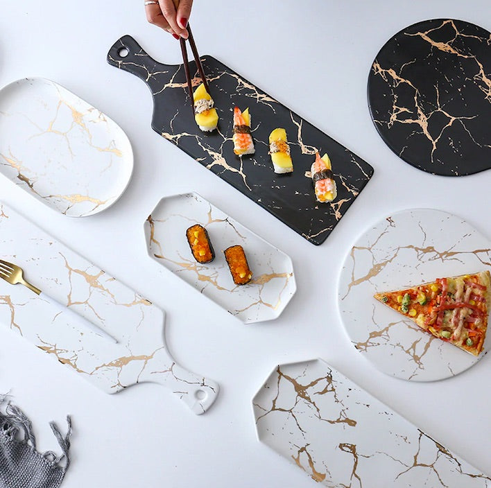 Gold Marble Ceramic Serving Dishes
