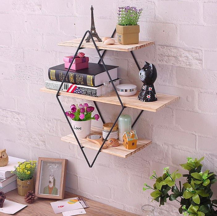 Iron and Wood Modern Shape Shelves