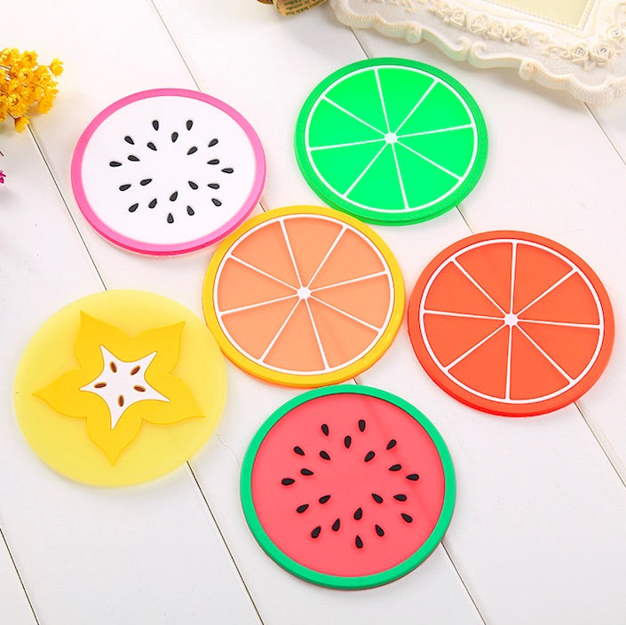 Kawaii Assorted Fruit Silicone Coasters