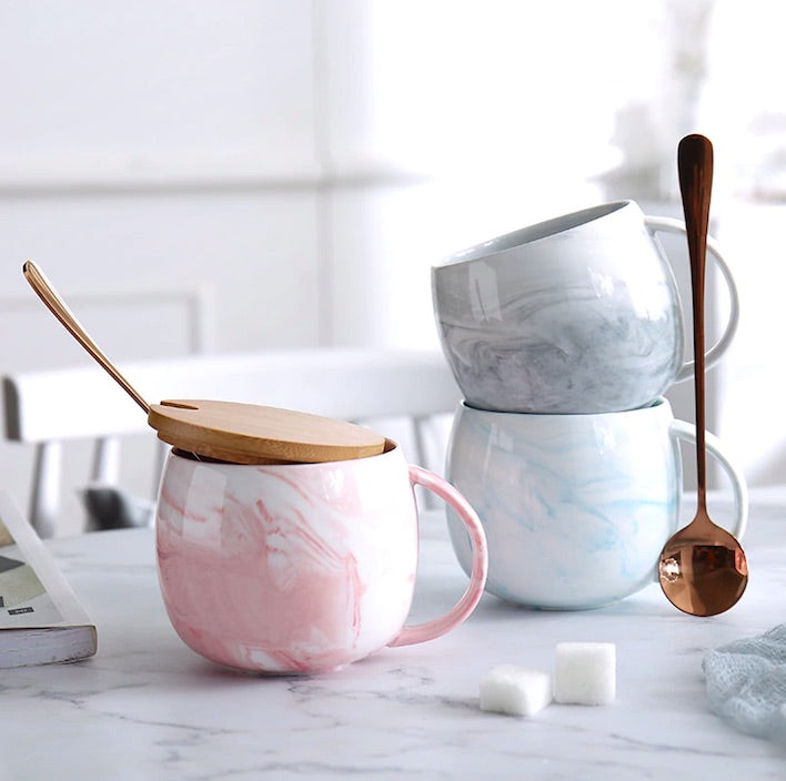 Marble Ceramic Coffee Mug with Lid and Spoon