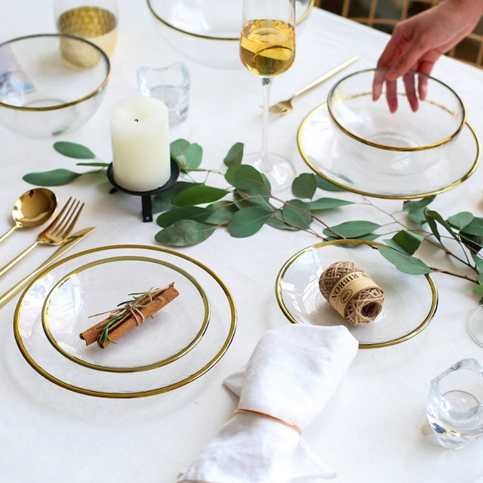Modern Gold Edge Glass Serving Dishes