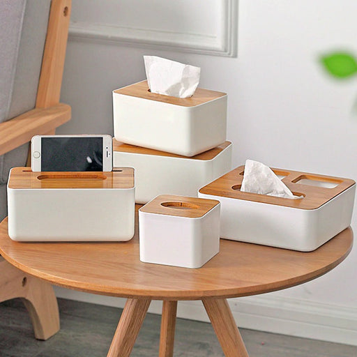 Modern White & Bamboo Tissue Holder Organizer