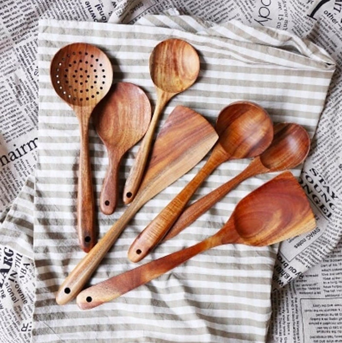 Natural Teak Wood Kitchen Spoon Set
