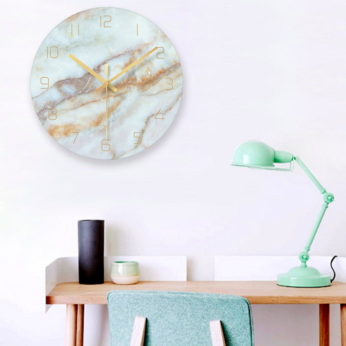 Nordic Marble Textured Glass Wall Clock